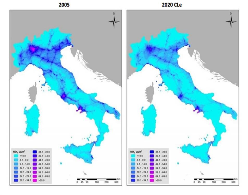 Concentrazioni di NO2 sul territorio Italiano al 2005 e al 2020 (CLe)