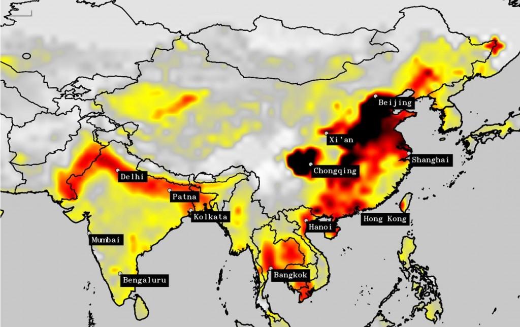2005: l'aria della Cina è molto inquinata ma, in questo momento, le cose non vanno così male in India.