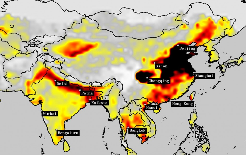 2011: l'aria della Cina è peggiorata rispetto a sei anni prima, ma comincia ad emergere anche un problema di inquinamento nel nord dell'India.