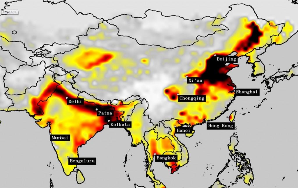 2015: l'aria della Cina, nonostante sia ancora molto inquinata, non è così tossica come lo era al culmine dell''apocalisse'' ma l'inquinamento nelle regioni densamente popolate del Nord dell'India è fuori controllo.