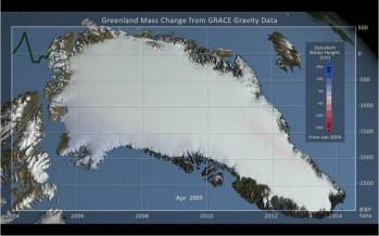Una animazione per vedere la perdita di ghiaccio in Groenlandia